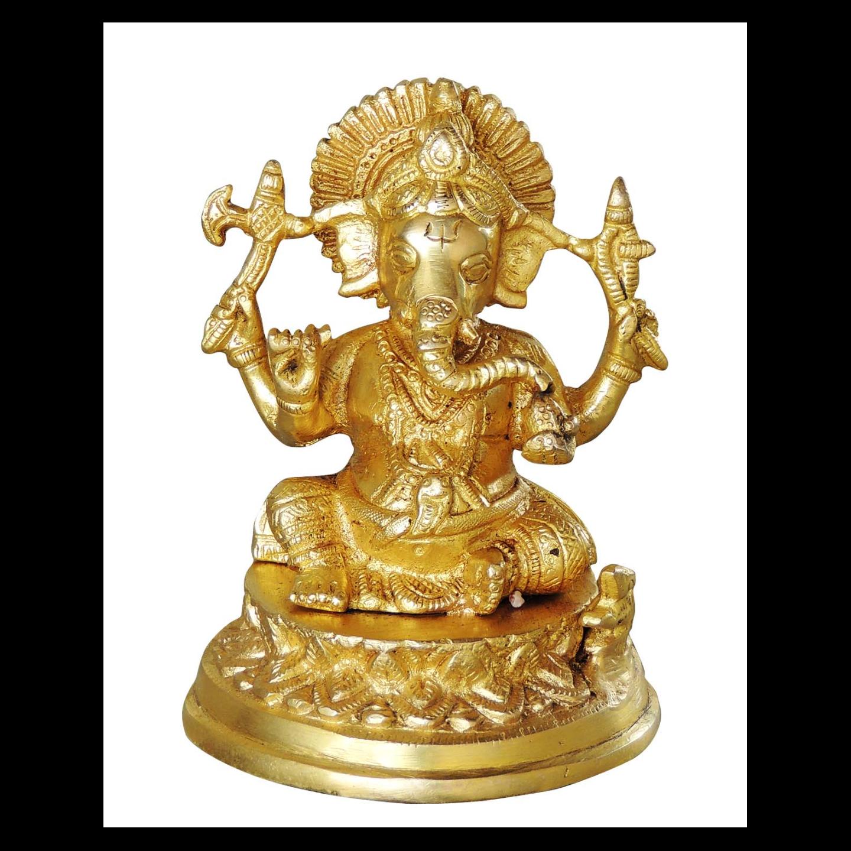 Brass Ganeshji Statue/Murti/idol - 5.5 inch (BS1040 G)