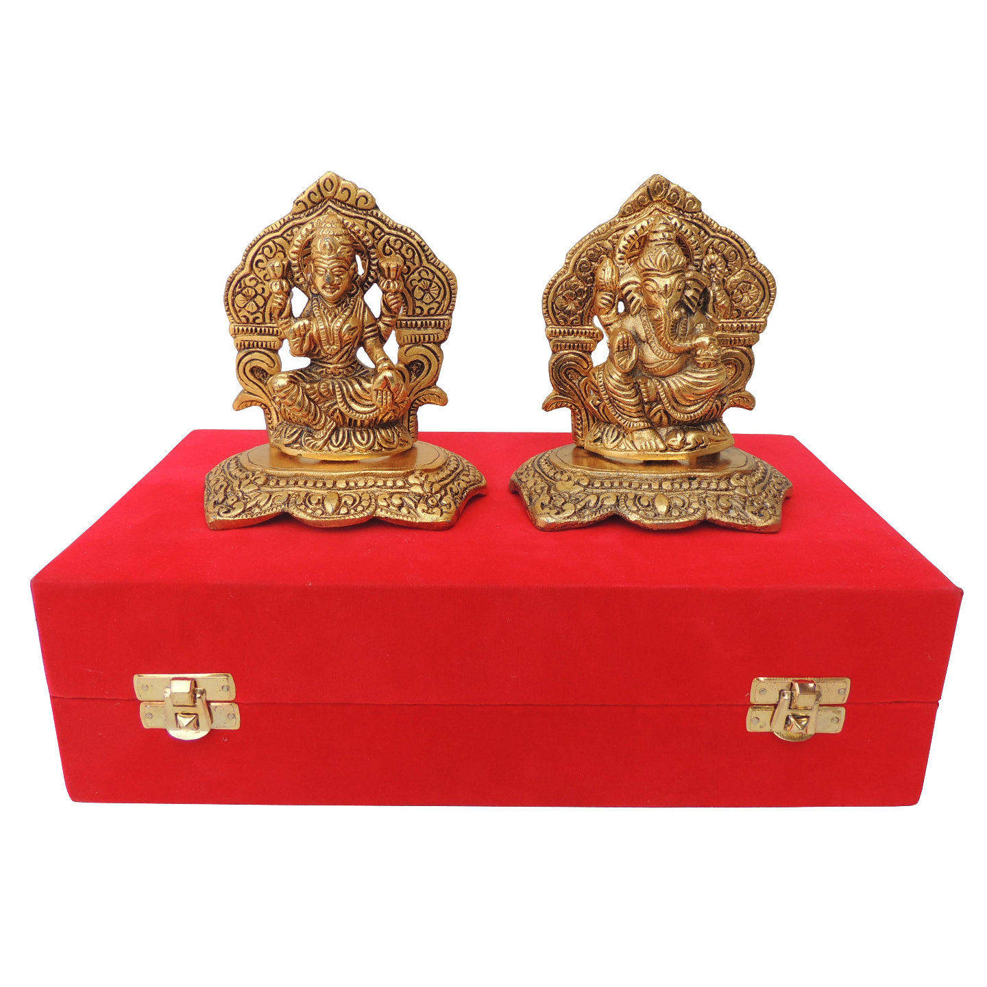 Showpiece Laxmi Ganesh With Golden Finish - 4.8 Inch (AS379 G)