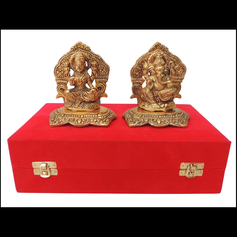 Showpiece Laxmi Ganesh With Golden Finish - 4.8 Inch AS379 G
