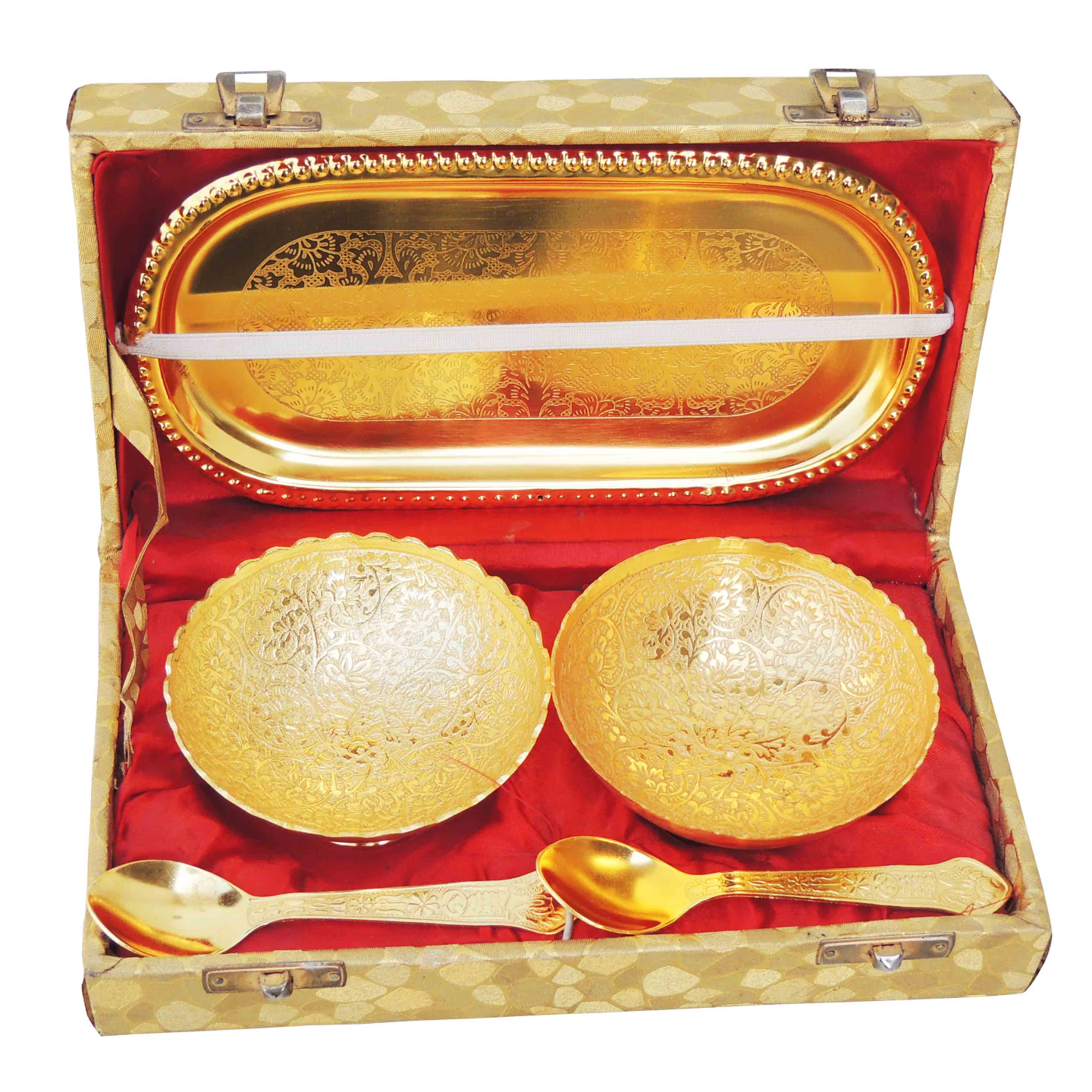 Brass Gold Lacquered Two Bowl And Spoon Set  B263 B