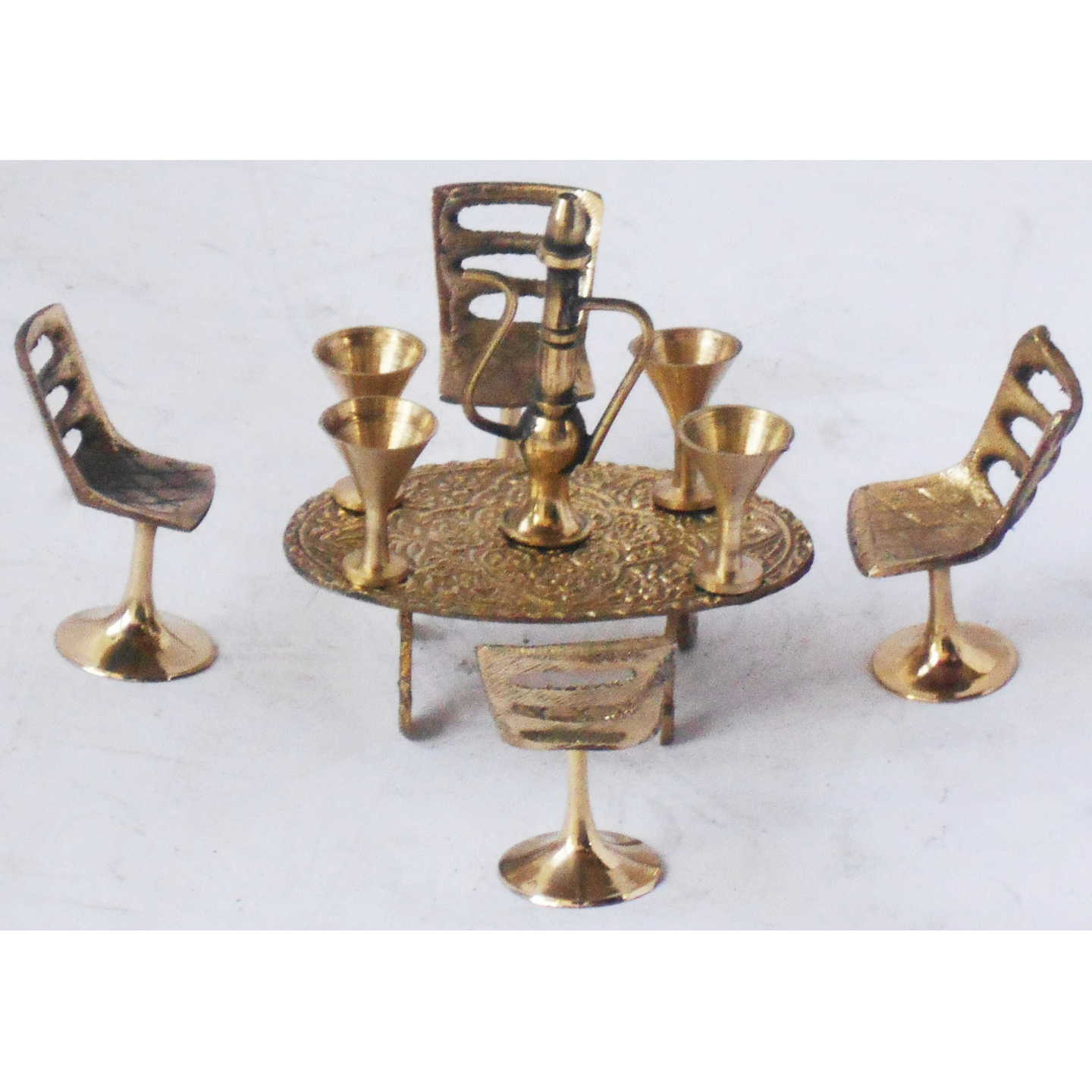 Brass Miniature Chair Table Cup Set 10 PCs Set Toy for Children Playing Z355 C