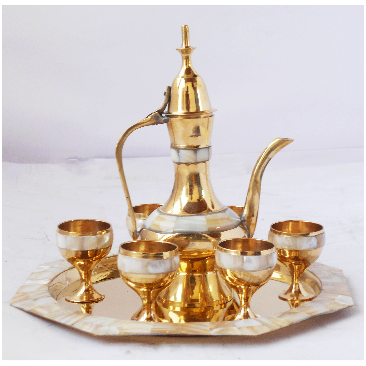 Brass Wine Set With Seep Work 6 Glass 1 Surahi 1 Tray Miniature Toy For Children Playing(Z363 D)