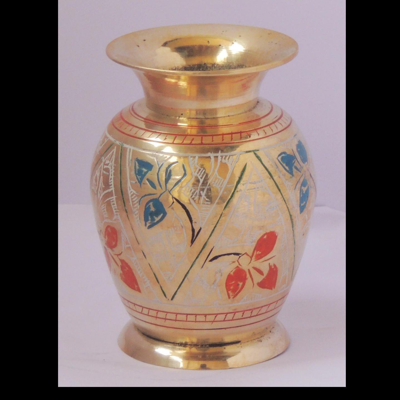 Brass Flower Vase pot with Handwork - 3*3*4 Inch  (F661 D)