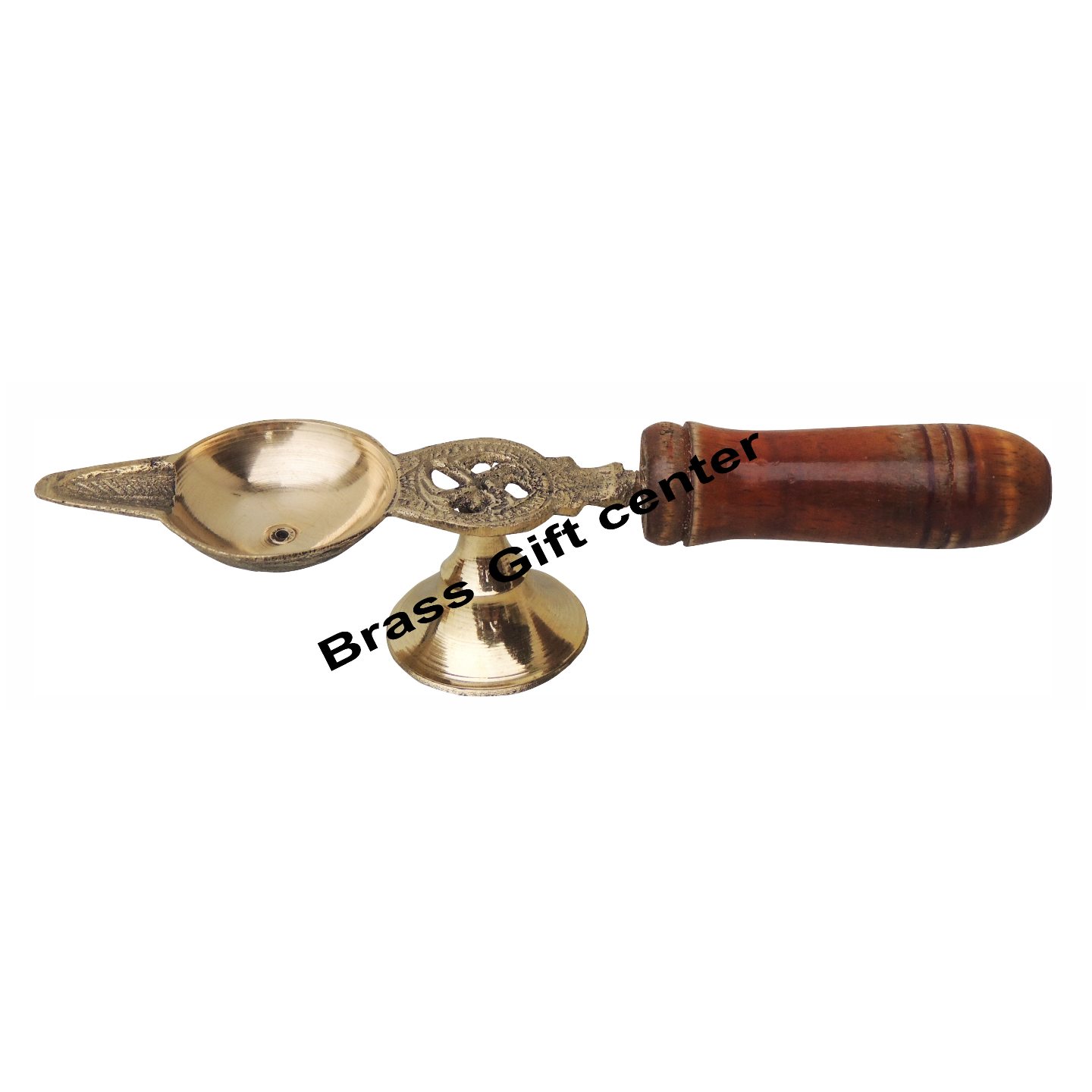 Brass Deepak With Wooden Handle - 6.5 Inch (F363 B)