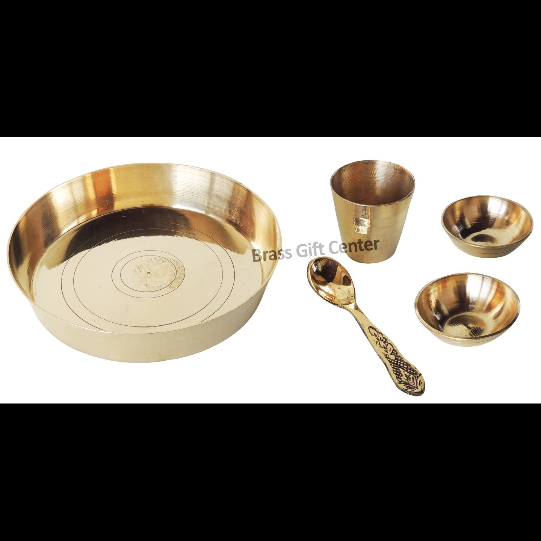 Brass Laddu Gopal Bhog Thali Set, Length 5 Inch (Z460 G)