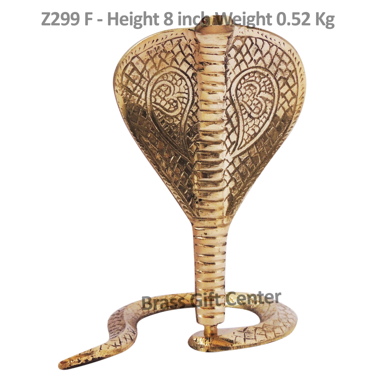 Brass Snake Saap For Shivling With Brass Finish, Height 8 Inch Z299 F