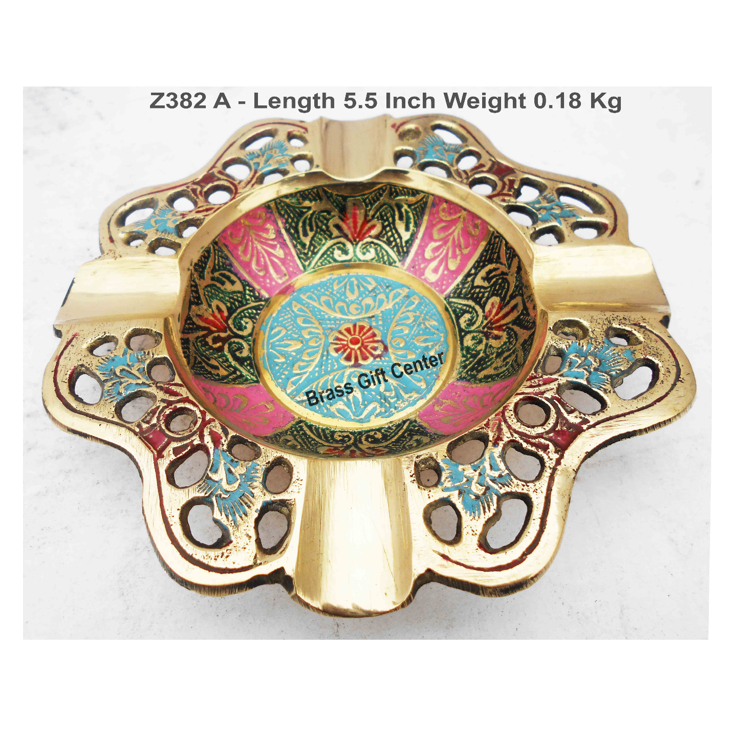 Brass Ash Tray With Multicloured Finsih - 5.5 Inch (Z392 A)
