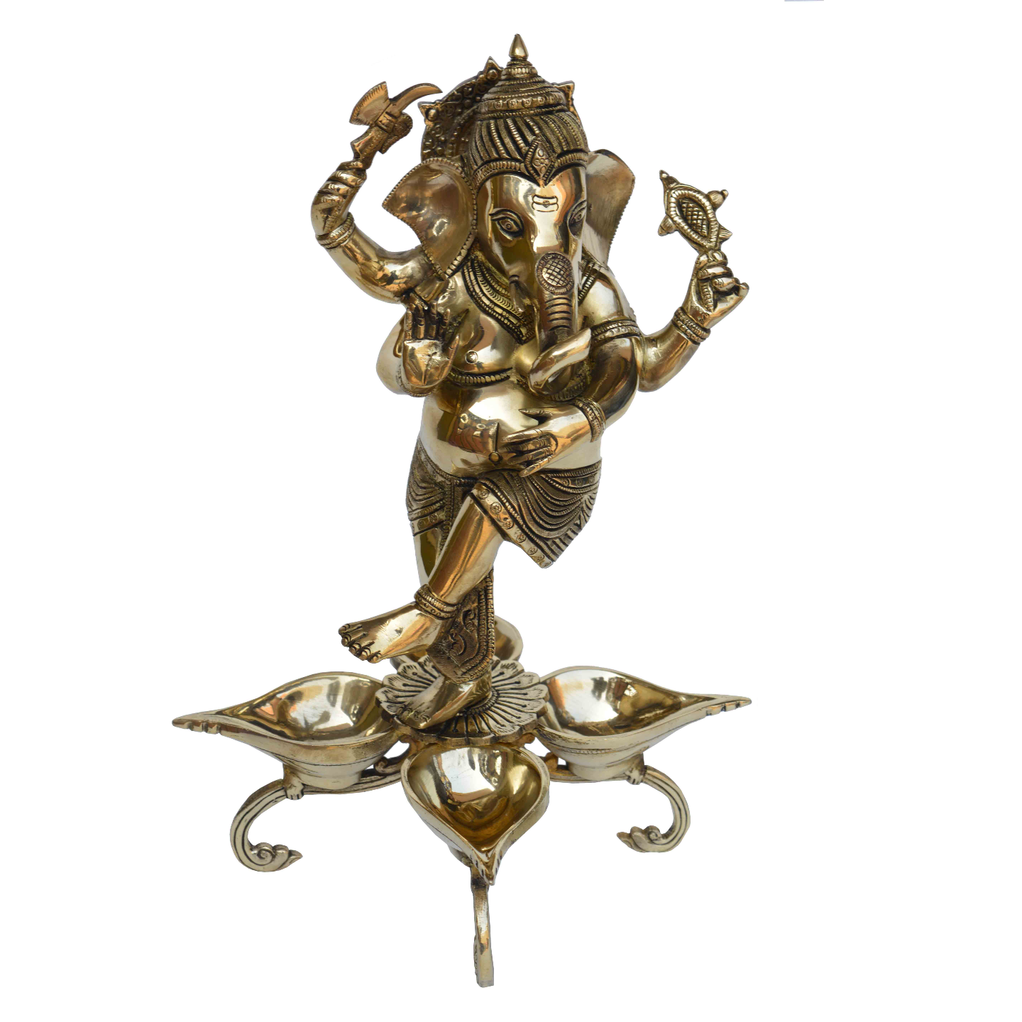 Dancing Ganesha figure on brass made home decor/living room decor oil lamp/Deepak (BS1186 A)