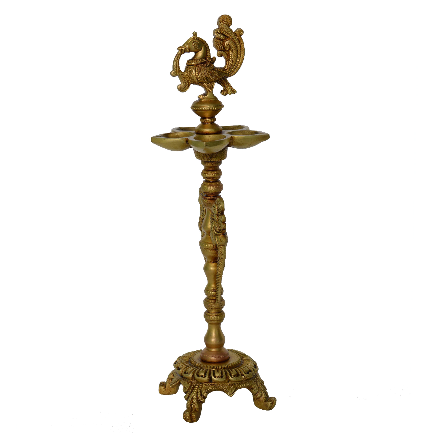 Brass Floor Oil Lamp with Bird Figure on Top with Carving - 12.8 Inch (BS1206 A)
