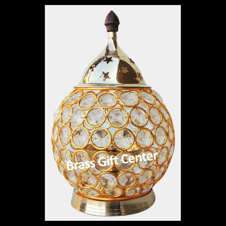 Brass & Iron Crystal Deepak - 7.3 Inch F672 D