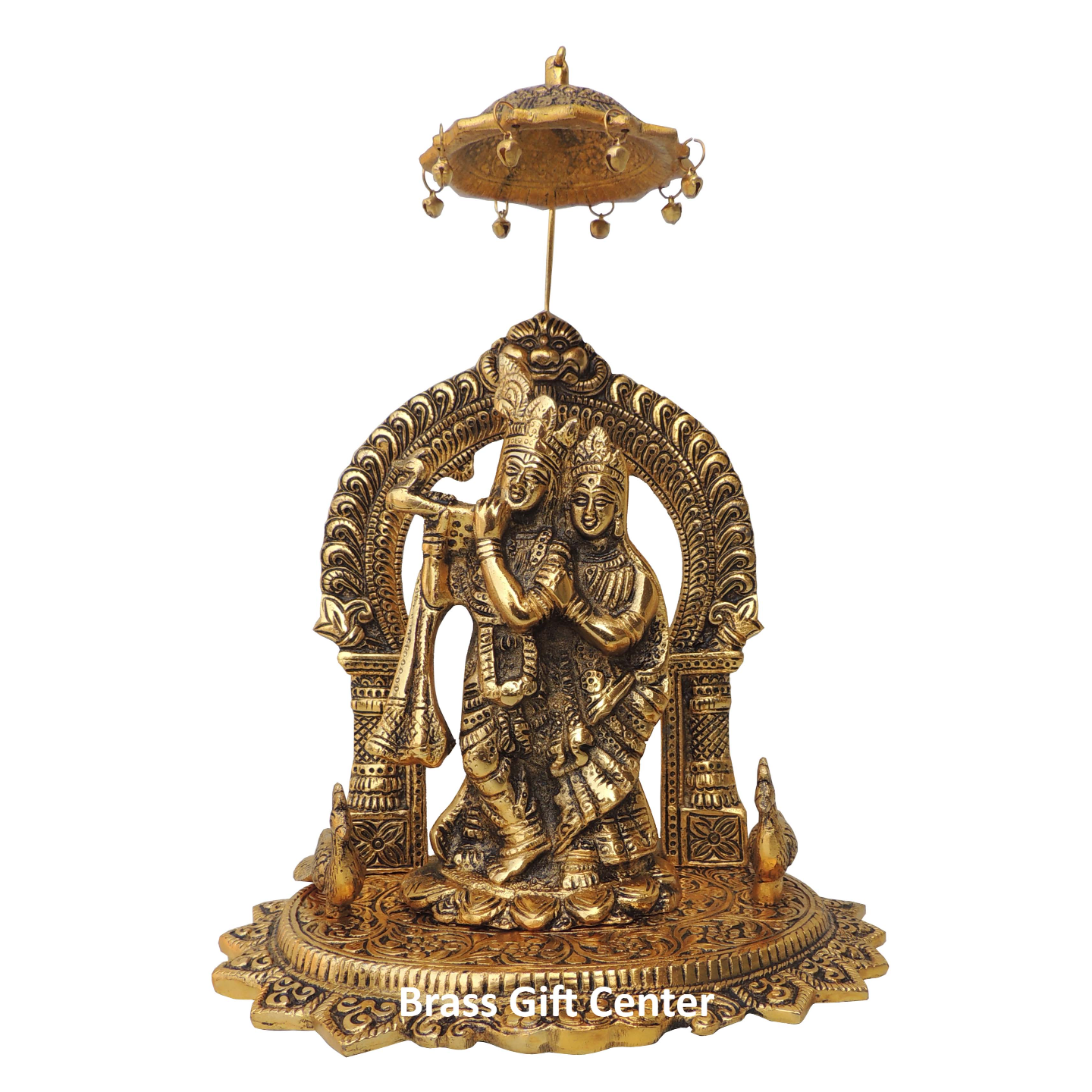 Showpiece Radha Krishna Maharav With Gold Finish - 11.7 Inch (AS360 G)