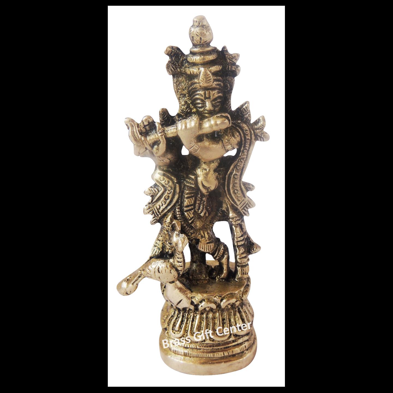 Brass Showpiece Krishna Statue - 4.1 Inch (BS1136 C)