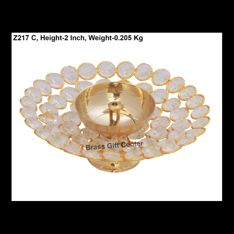 Brass Deepak With Crystal beads desing - 6 inch  Z217 C