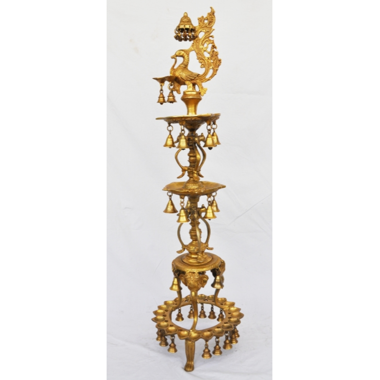 Brass metal designer & unique decorative peacock shape oil lamp with little bells, 40 inch (BS1209 A)