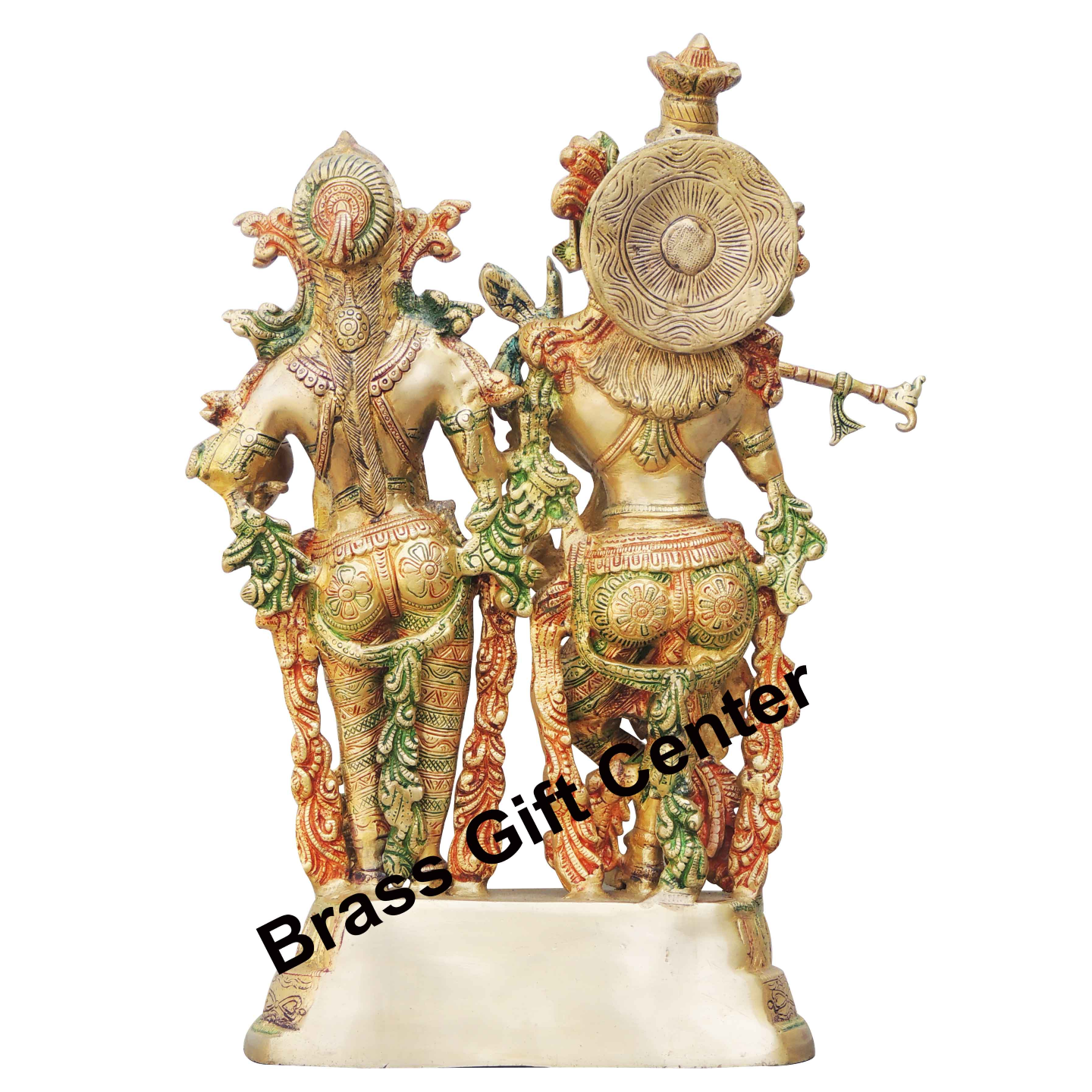 Brass Radha Krishna Staute Idol Murti in Multicolour lacquer finish - 10.5516.8 Inch  BS939 A