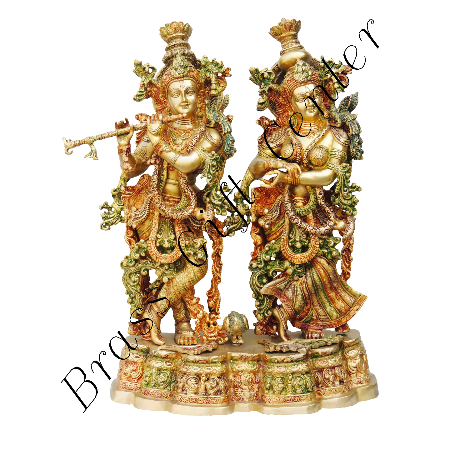 Brass Radha Krishna Staute Idol Murti in Multicolour lacquer finish- 20*12*27 Inch  (BS689 A)