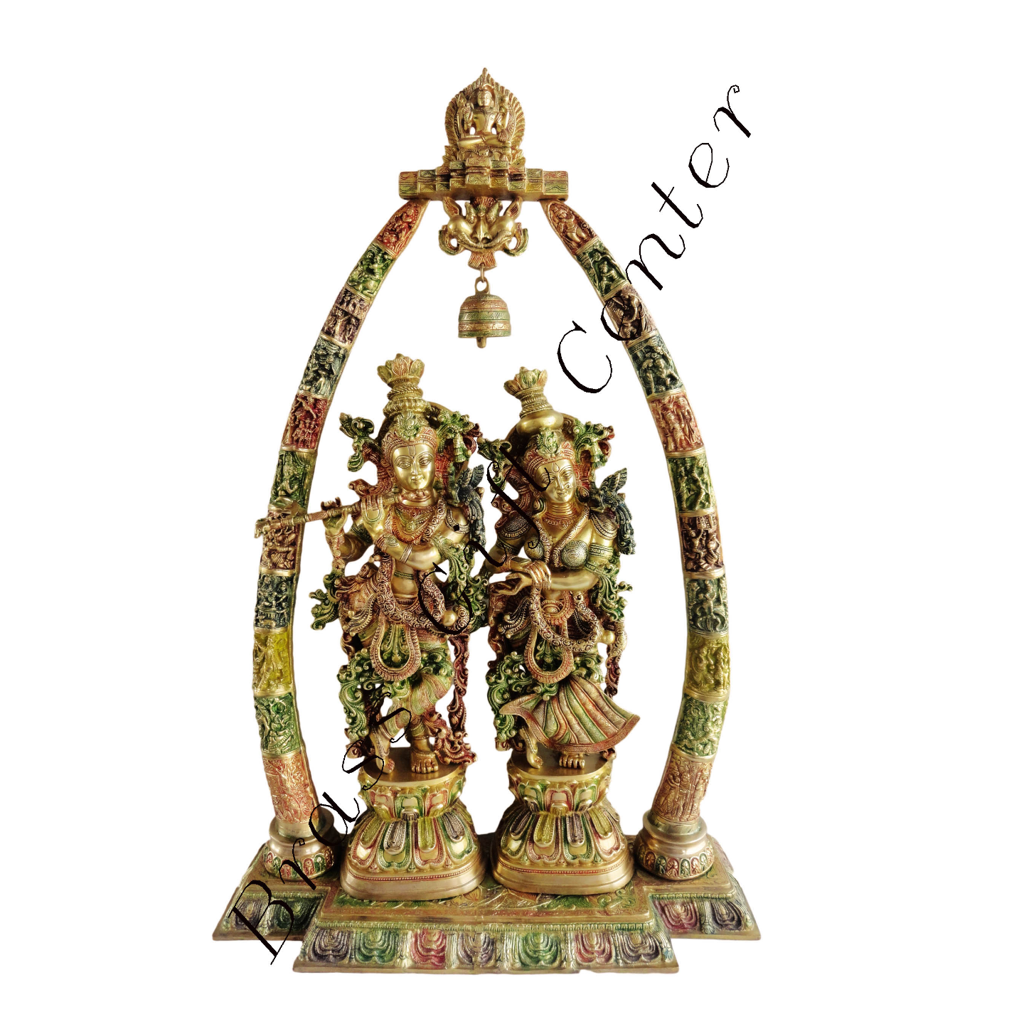 Brass Radha Krishna Darbar In Multicolour Lacquer Finish - 29*8*45 Inch  (BS301)