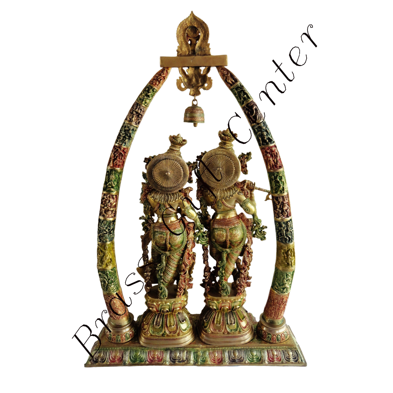 Brass Radha Krishna Darbar In Multicolour Lacquer Finish - 29845 Inch  BS301