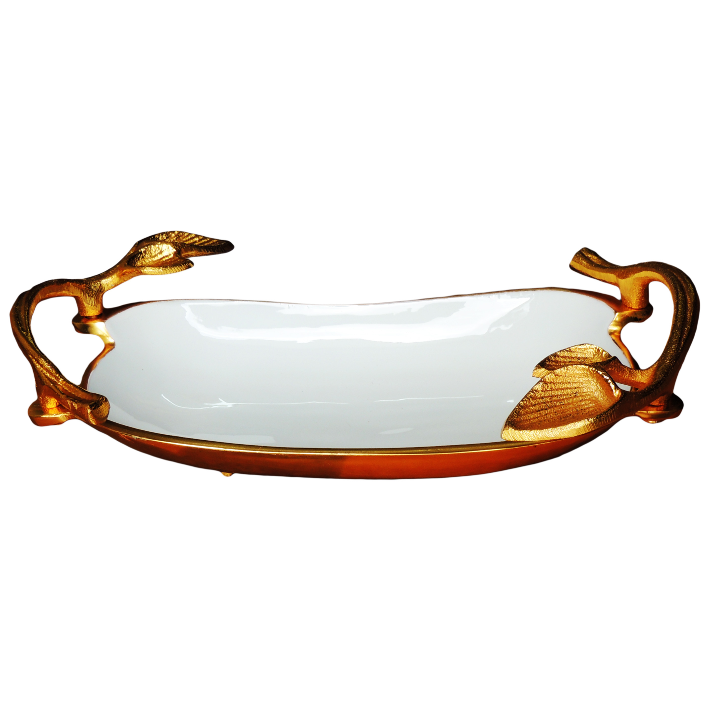 Aluminium Metal Tray Serving Platter with Gold and White Finish- 13*8 Inch  (A3179/13)