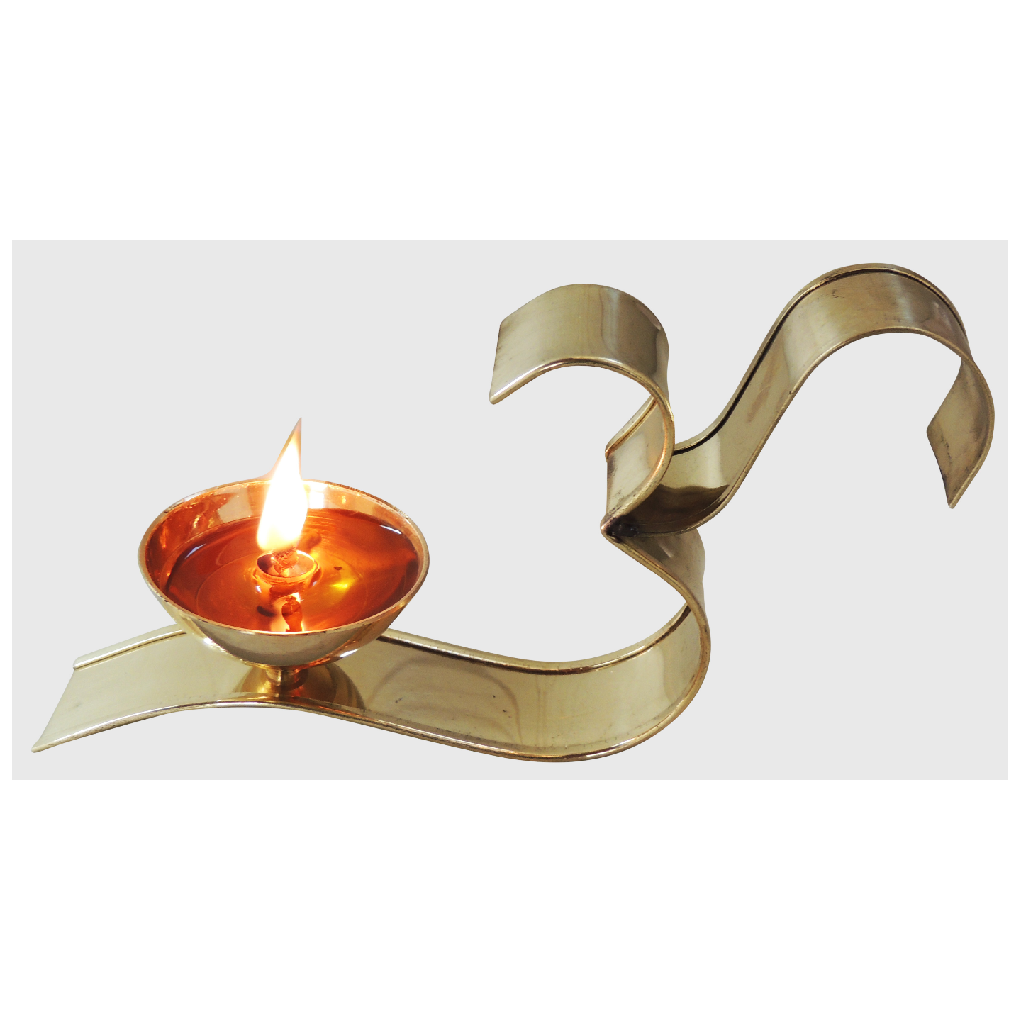 Brass Om With Attached Deepak - 3 Inch, No. 2,  Z489 B