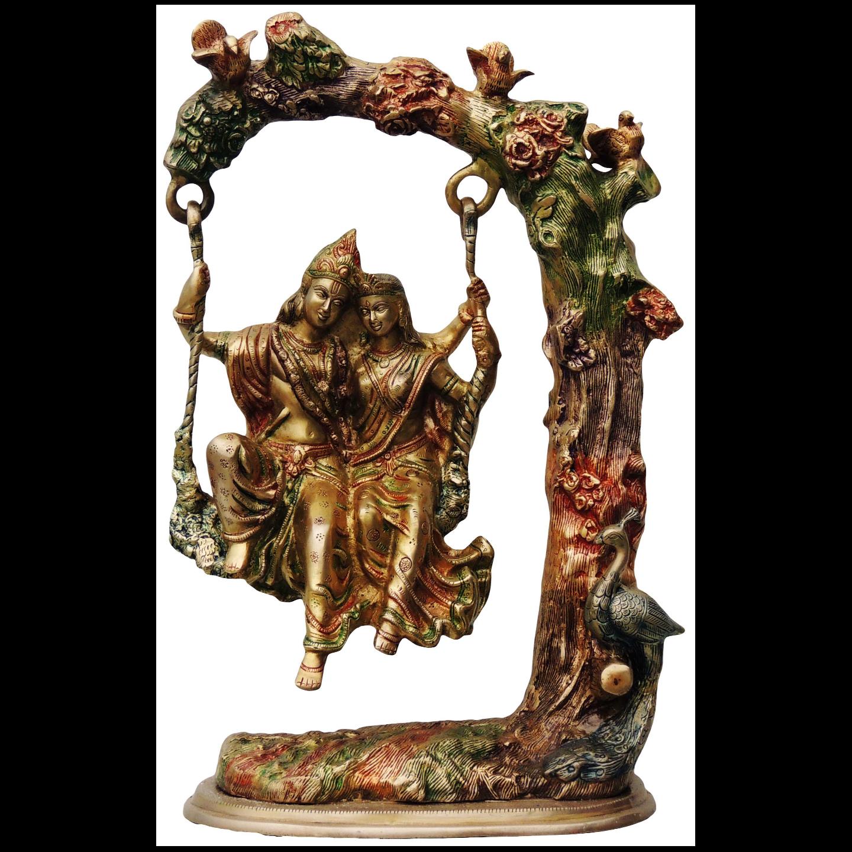 Brass Radha Krishna Jhula Staute Idol Murti in Multicolour lacquer finish- 13.5*7.5*21 Inch  (BS474)