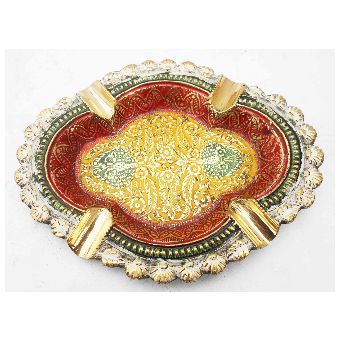 Brass Ash Tray With Multicloured Finsih -  6 Inch Z382 F