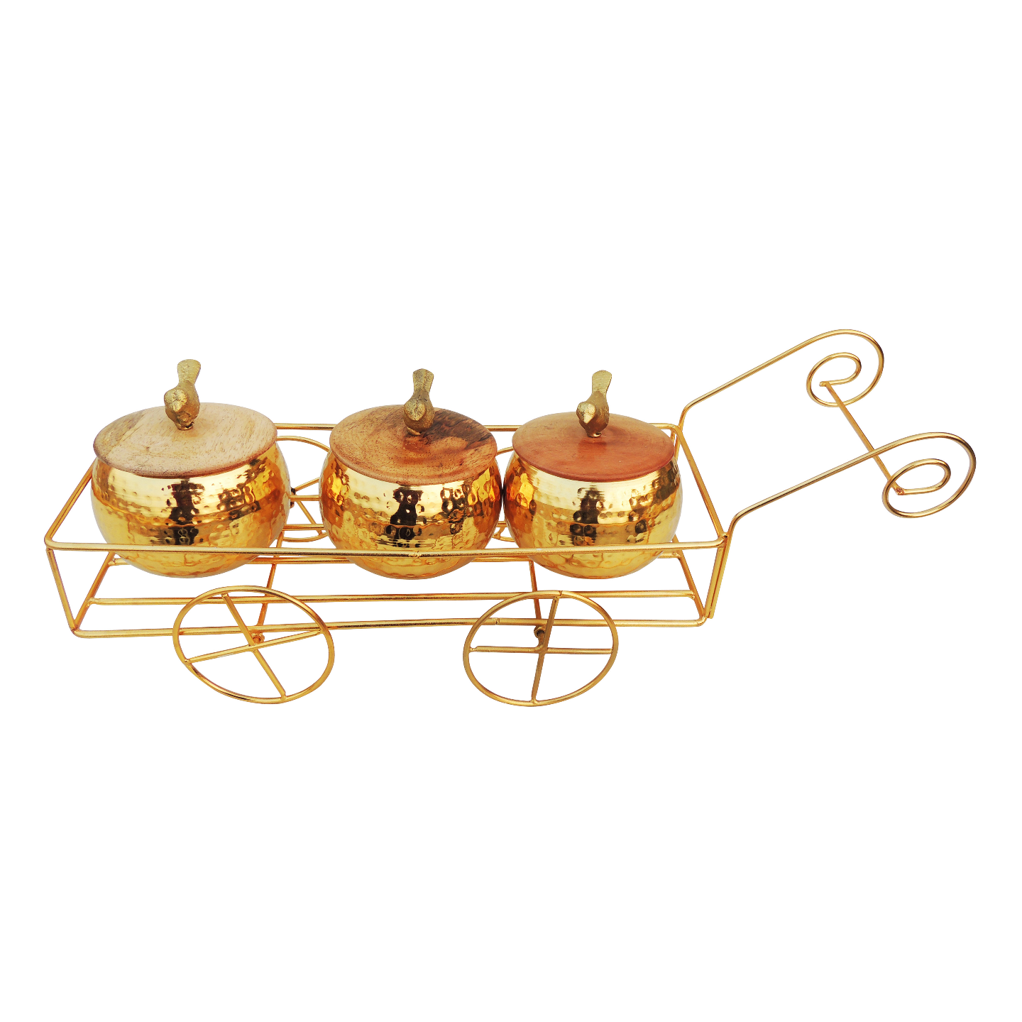 Decorative 3 Pc. Candy Box With Trolly For Diwali Gift - 17.5 Inch (I136 C)
