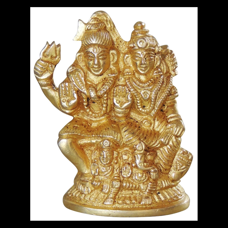 Brass Shiv Parivar Statue Murti  idol In Super fine Finish 260 gm- 2*1*2.5 inch  (BS1045 D)