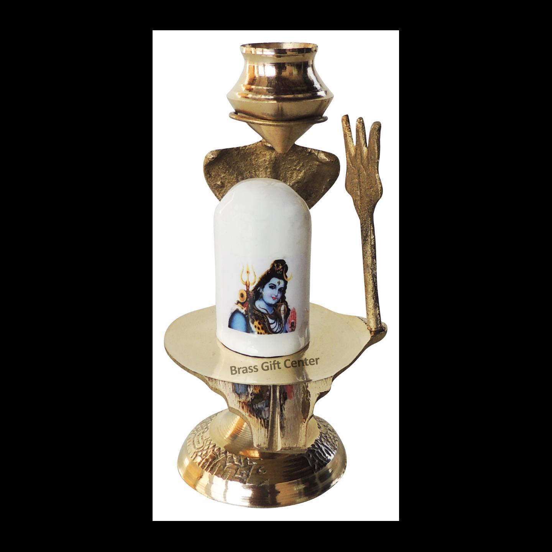 Brasss Temple Shivling - 4.3 Inch Z462 C