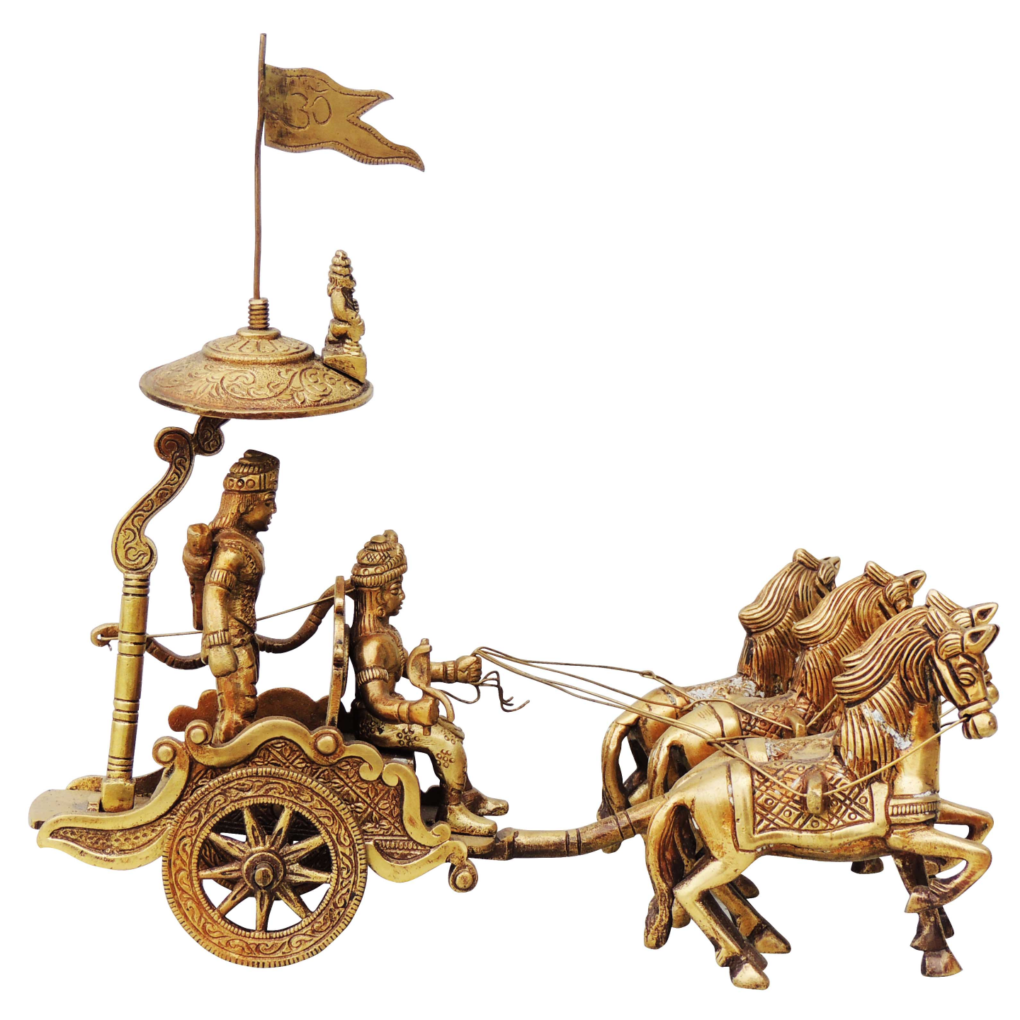 Brass Showpiece Arjun Rath - 9.5 Inch (BS070 A)