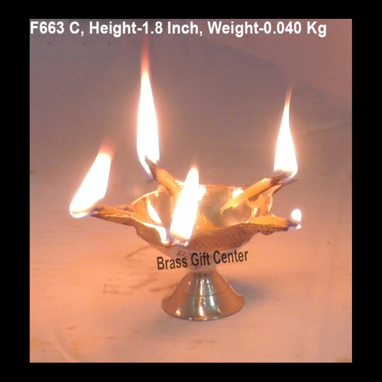 Brass Panchmukhi Star Deepak No. 0 - 3 Inch  F663 C