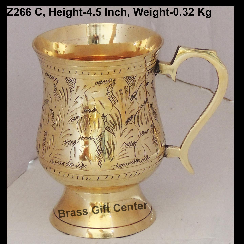 Brass Beer Mug Glass 300 Ml - 5*3.5*4.5 Inch  (Z266 C)