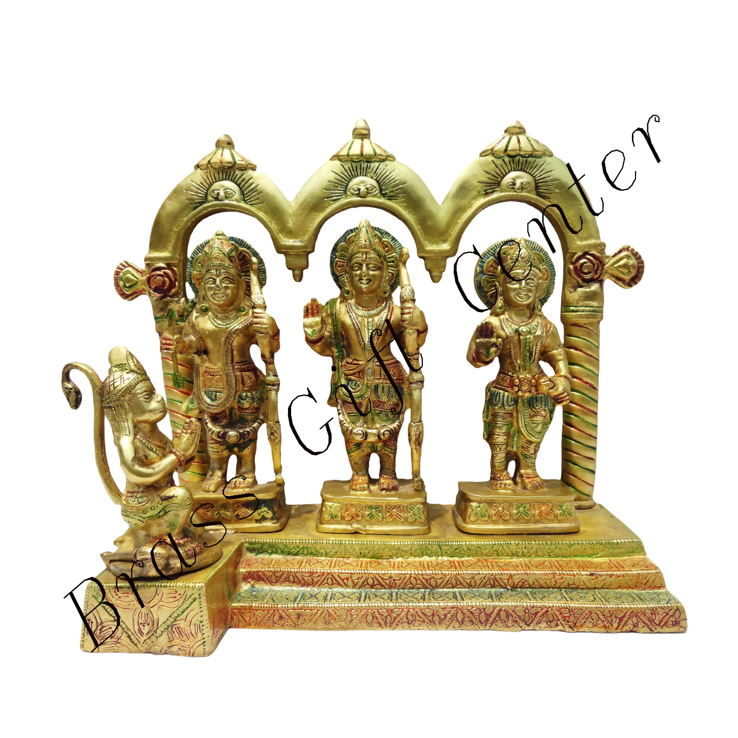 Brass Ram Dharbar Statue Idol Murti in Multicolour lacquer finish- 10*4.8*10 Inch  (BS130)