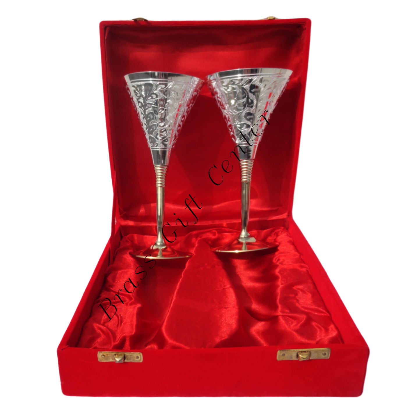 Brass Goblet Set Of 2 PCs In Rwd Velvet Box B077
