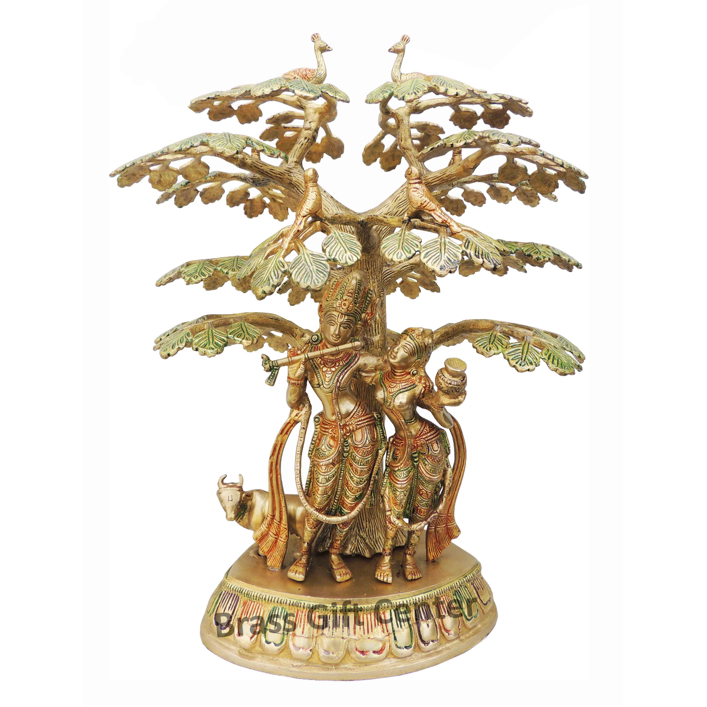 Brass Radha Krishna Staute Under Tree Idol Murti in Multicolour lacquer finish - 15.512.519.4 Inch  BS828 C