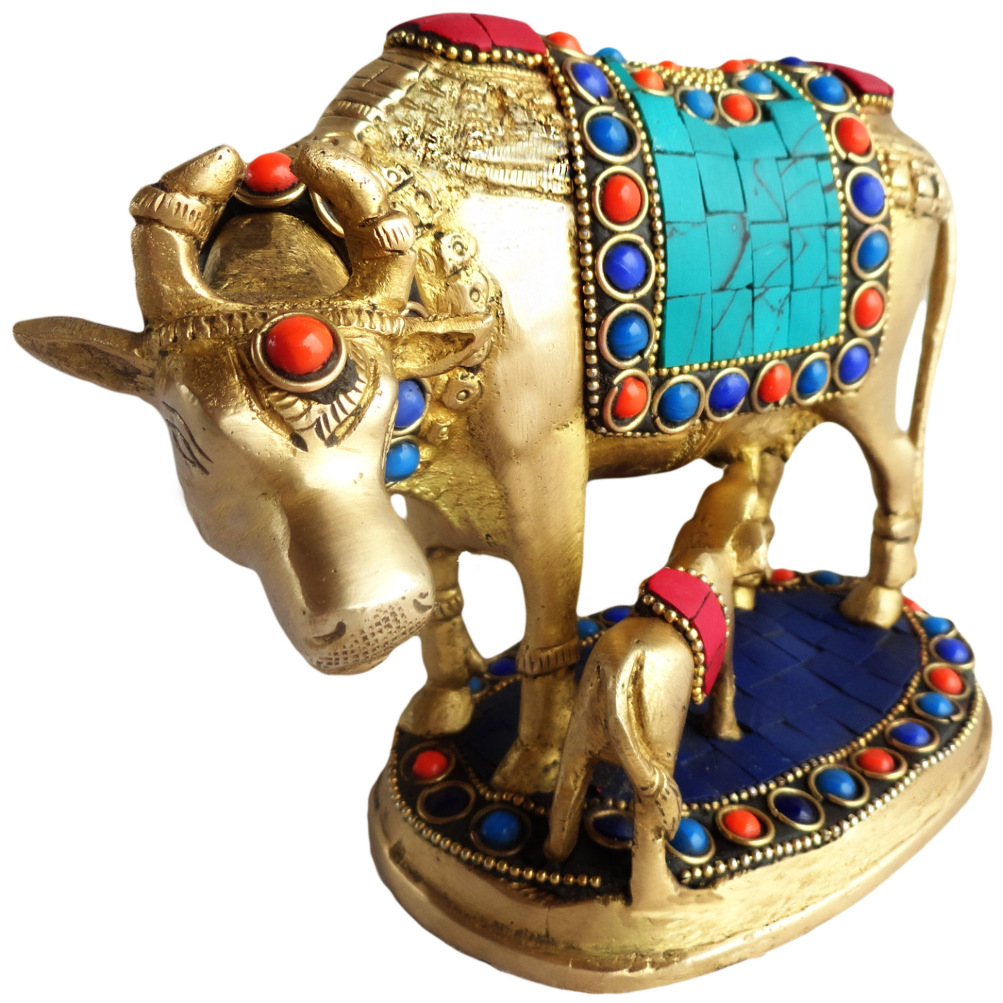 Brass Cow With Calf Gaye Bacdha with Turquoise Coral stone work- 5*3.5*5.5 Inch  (BS210)