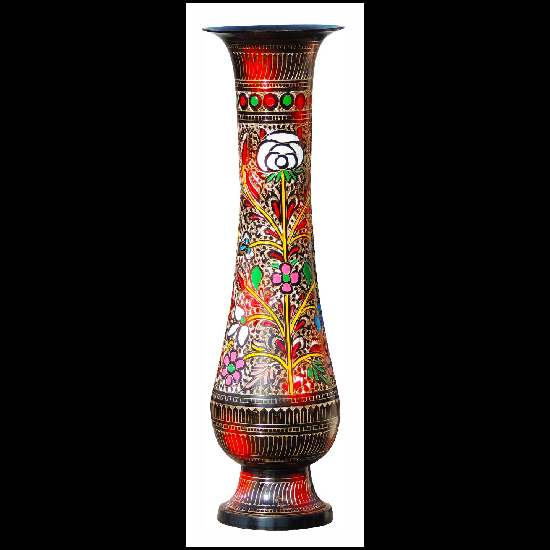 Brass Coloured Flower Vase with handwork - 5.5*5.5*18 Inch  (F397 C)