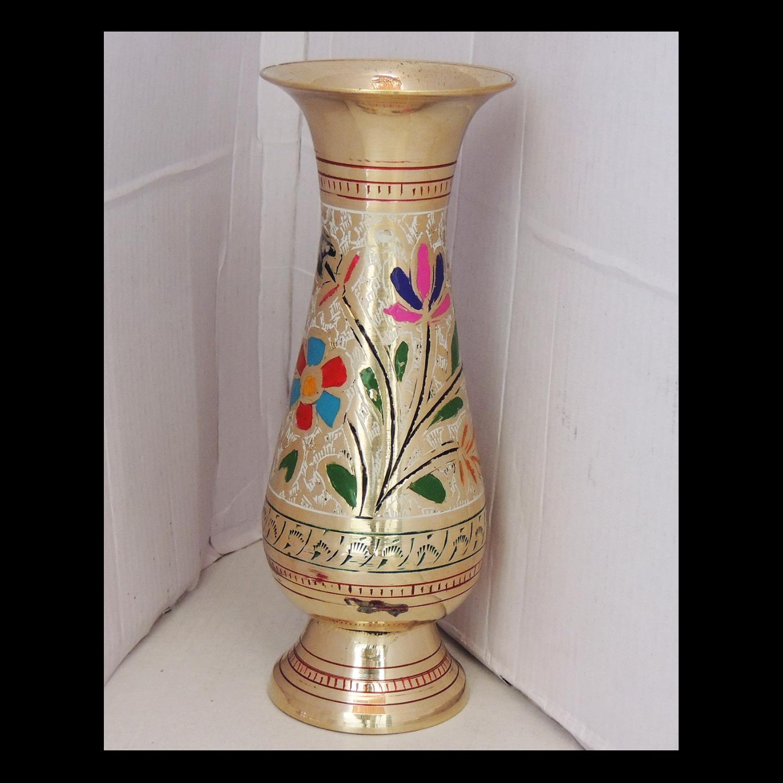 Brass Flower Vase pot with Handwork - 3*3*7.4 Inch  (F659 E)