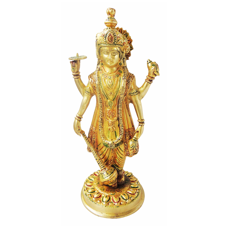 Brass Showpiece Vishnu Ji Idol Statue - 12.5 Inch BS1140 B