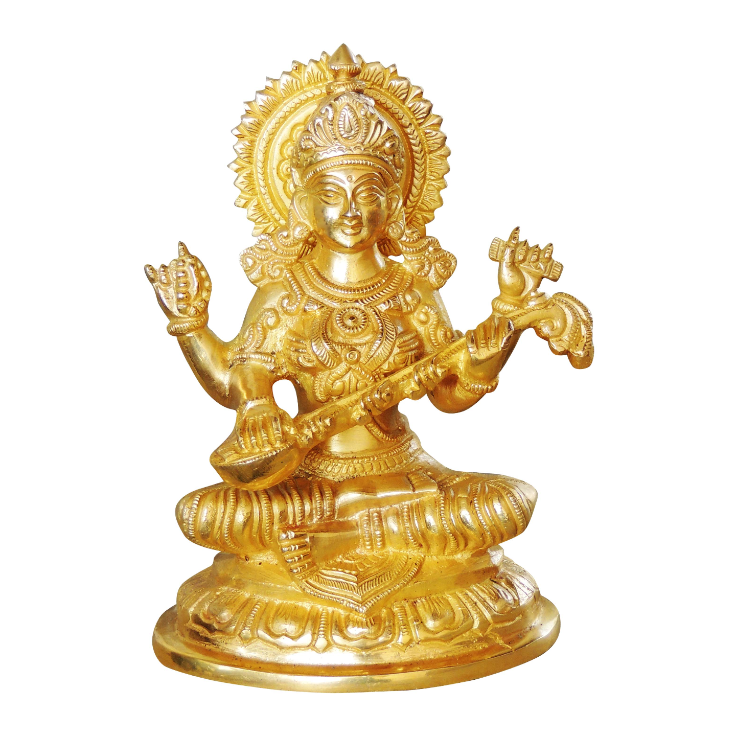 Brass Saraswati Statue In Super fine Finish 2 Kg - 8 inch  (BS1025 S)
