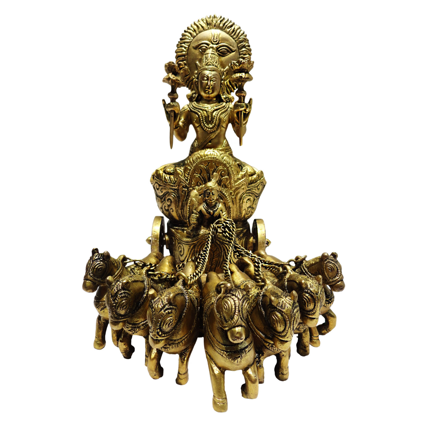 Brass Surya Dev Rath In Antique Finish -11 Inch BS191