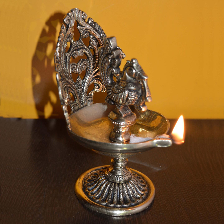 Bird Figure Decorative Brass Oil lamp/Diya - 6 Inch (BS1185 A)