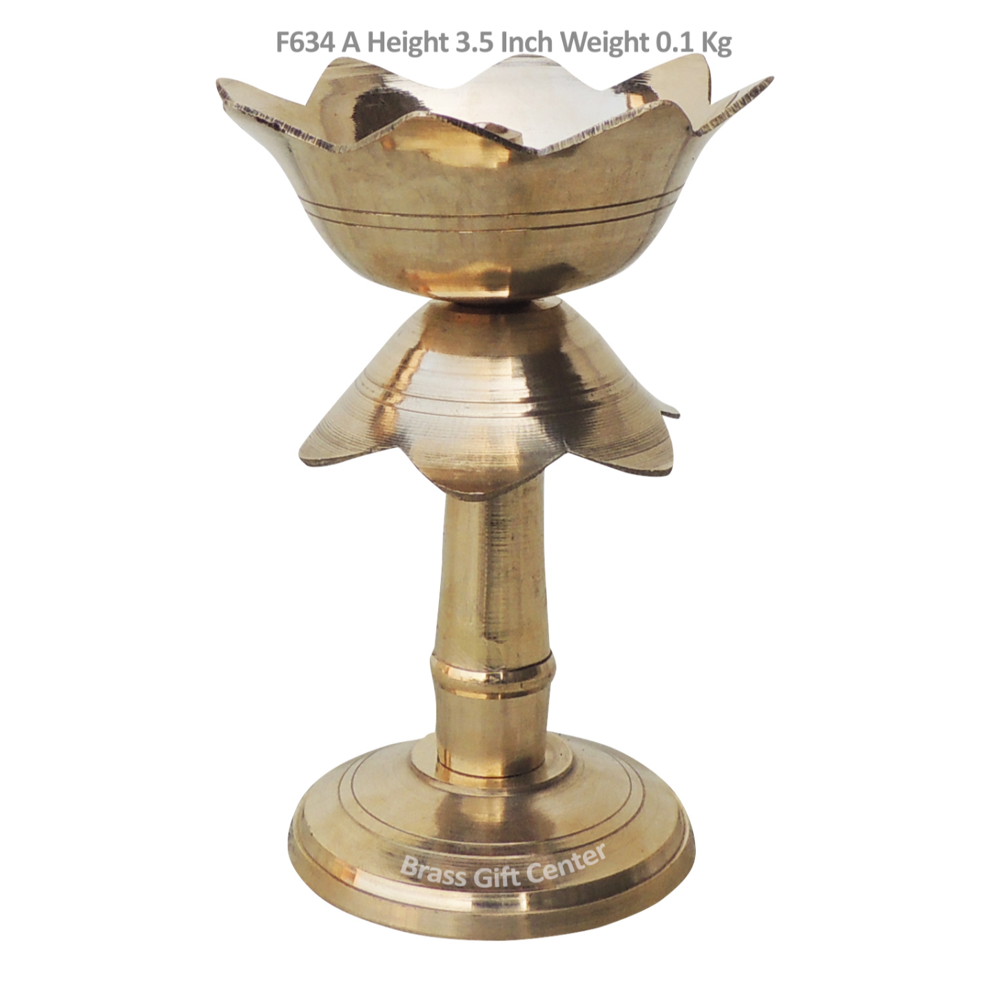 Brass Lotus Shape Deepak With Stand - 3.5 Inch (F634 A)