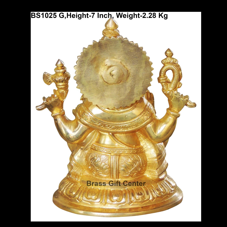 Brass Ganeshji Murti Statue idol- 5.547 inch  BS1025 G
