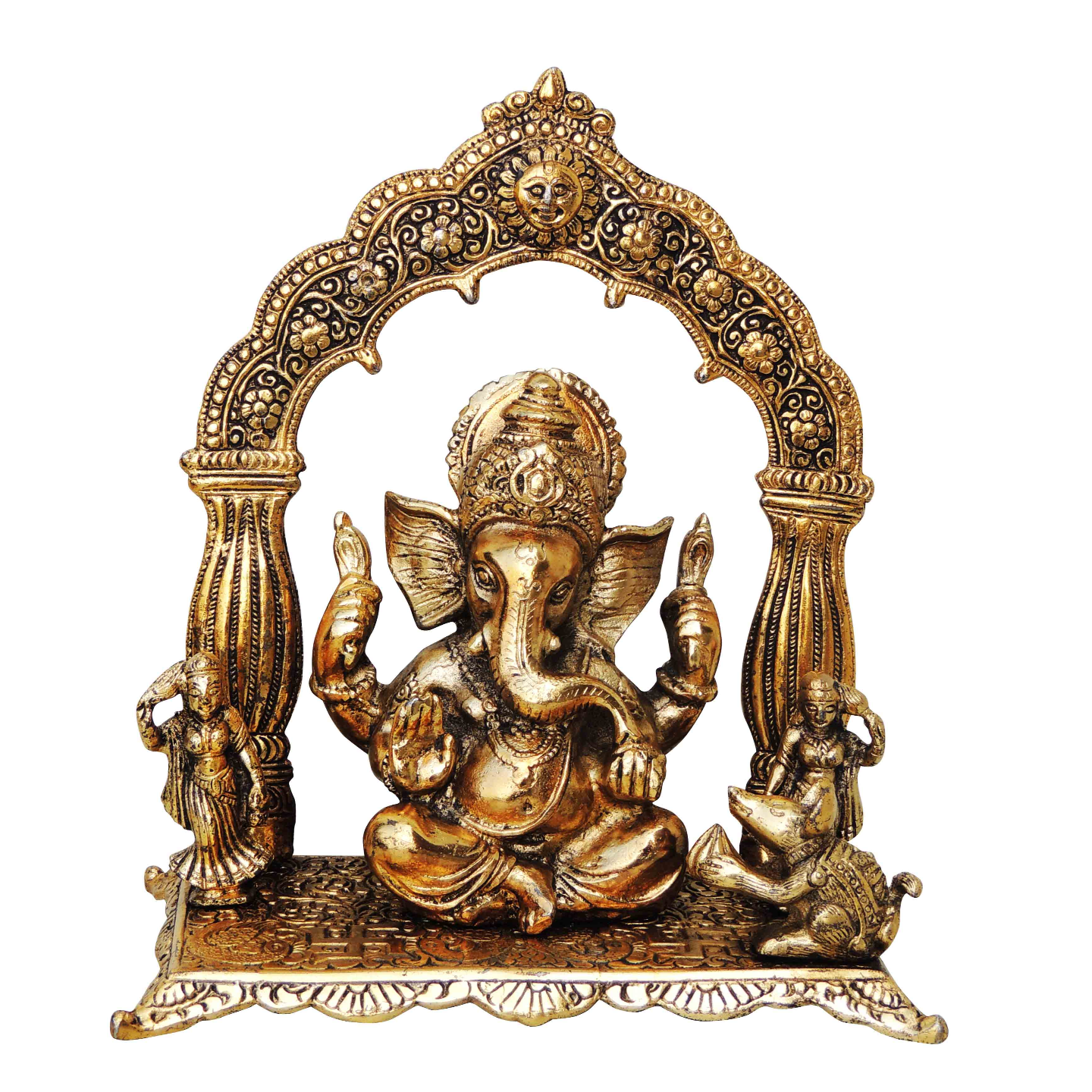 Aluminium Ganesh Statue Murti Idol Gold Antique finish- 8.5*5*10 Inch (AS175 G)