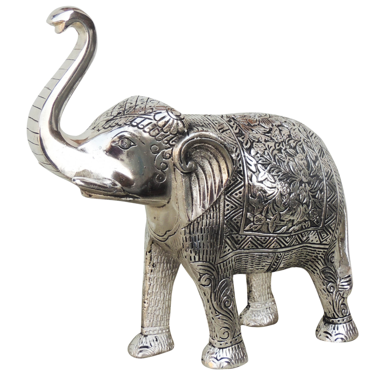 Aluminium Elephant Silver Antique- 11.5*4.5*11 Inch (AS213 S)