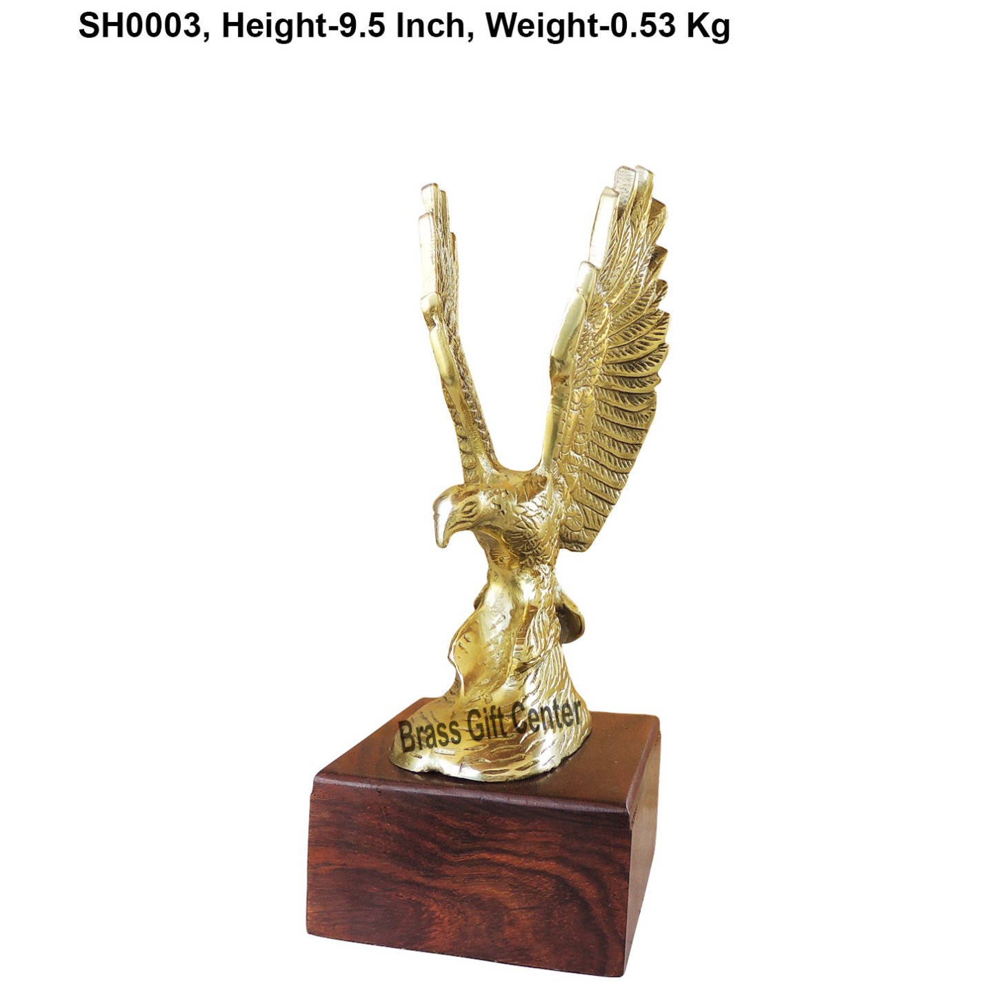 Metal Eagle Statue In Brass Finish With Wooden Base - 9.5 Inch  (SH0006)
