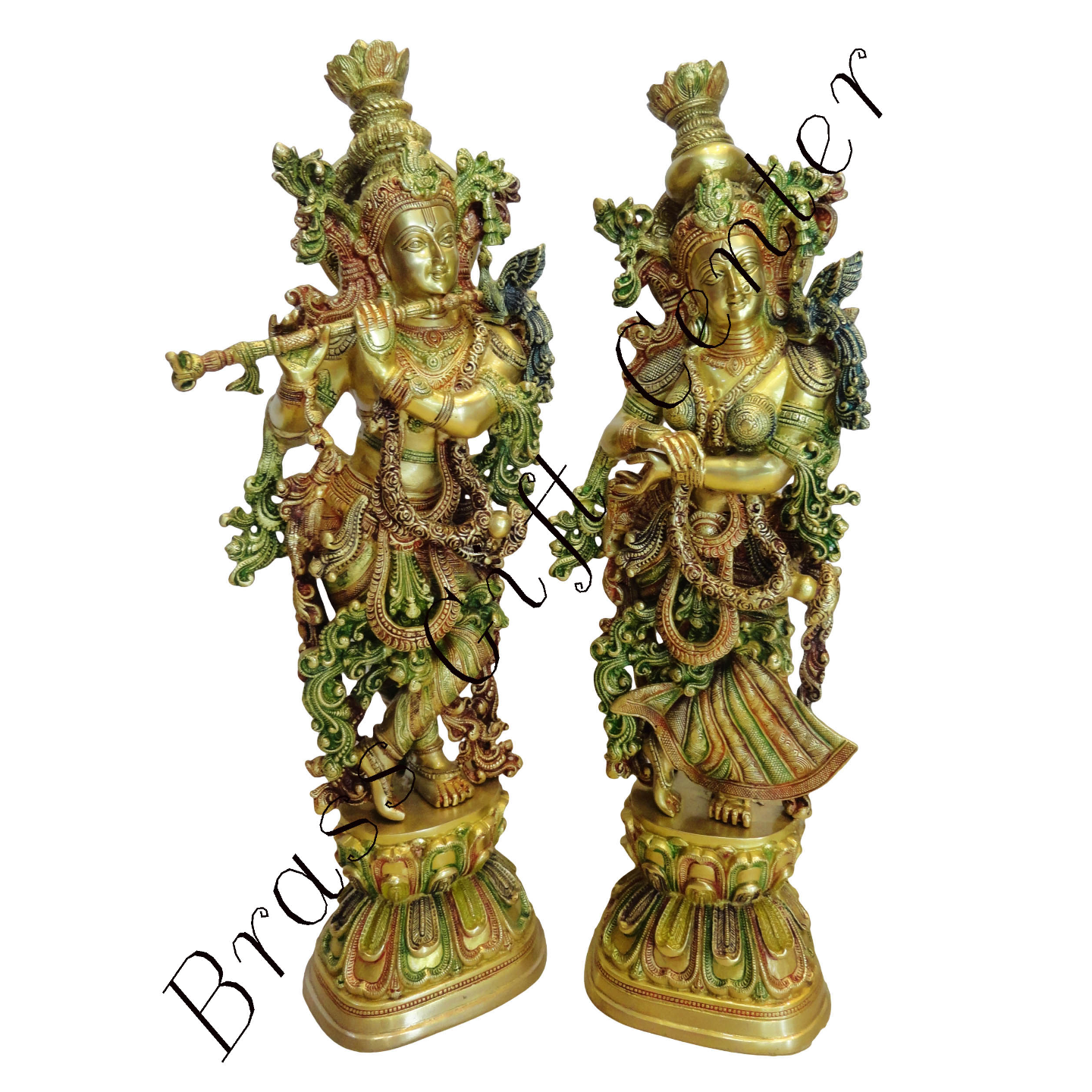 Brass Radha Krishna Staute Idol Murti in Multicolour lacquer finish- 8.5*6*29 Inch  (BS073)