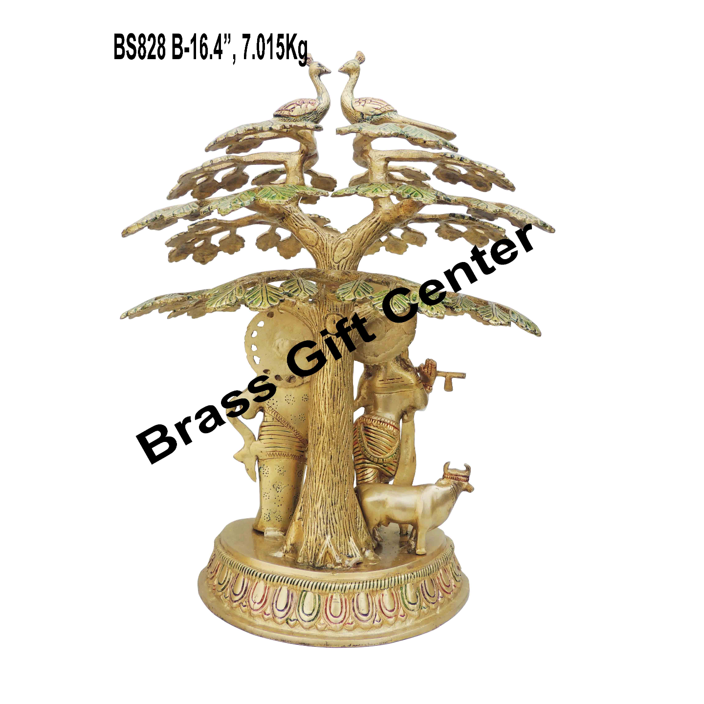 Brass Radha Krishna Under Tree Staute Idol Murti in Multicolour lacquer finish - 11.58.516.4 Inch  BS828 B