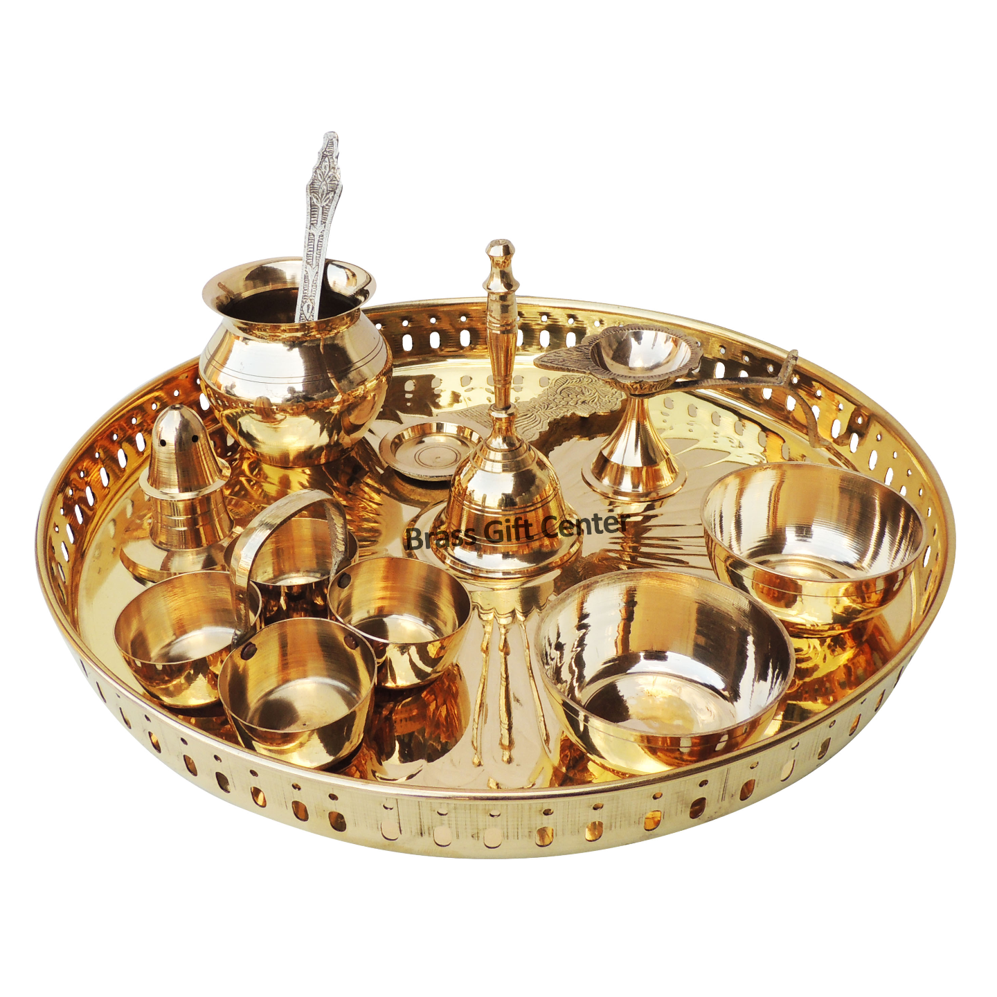 Brass Pooja Thali Set With Multiple Items - 12 Inch Z476 E